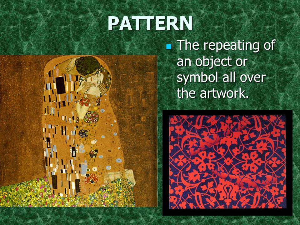 PATTERN The repeating of an object or symbol all over the artwork.