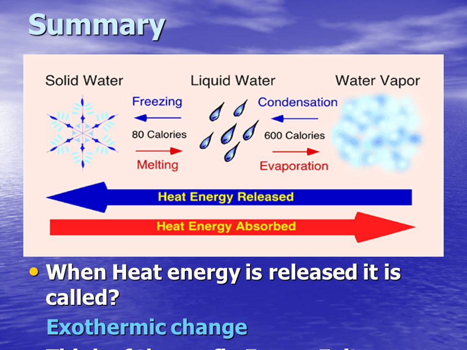 Summary When Heat energy is released it is called Exothermic change