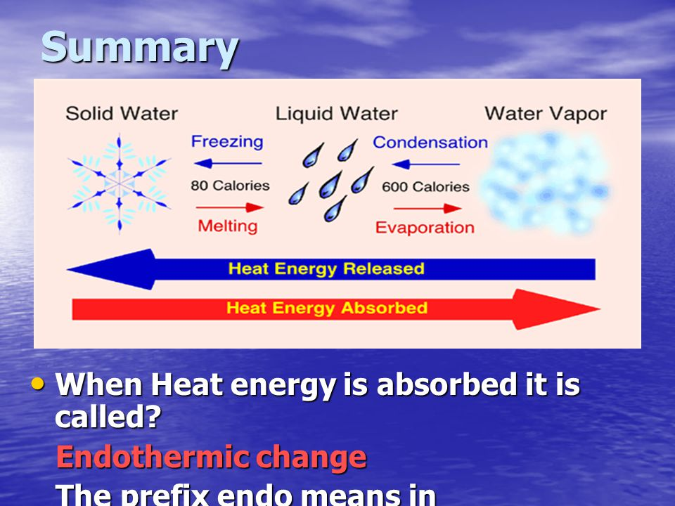 Summary When Heat energy is absorbed it is called Endothermic change