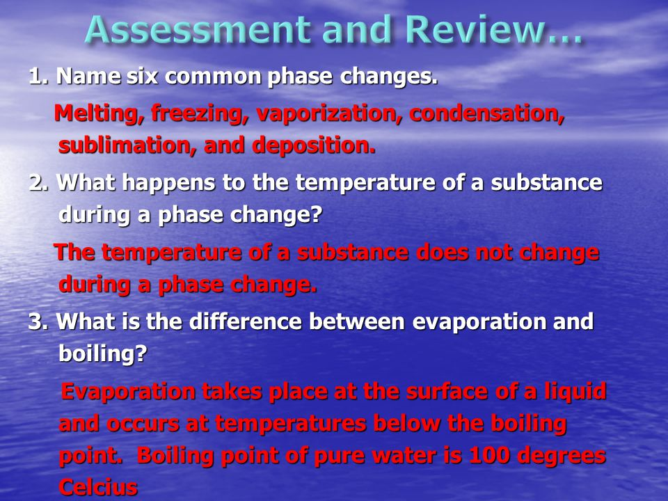 Assessment and Review…