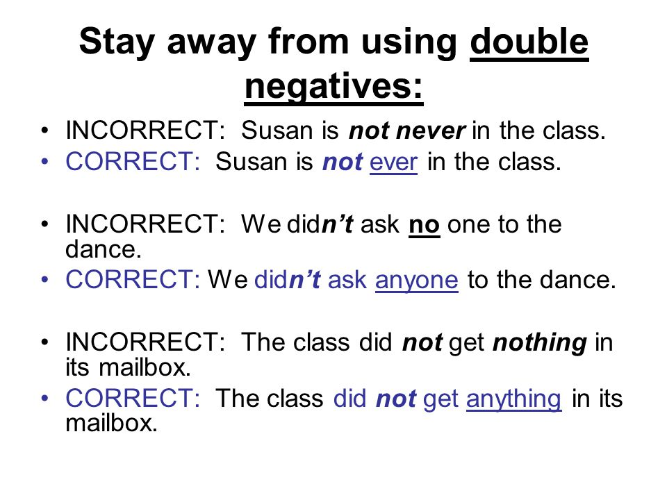 Stay away from using double negatives: