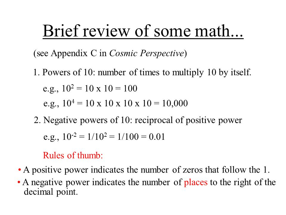 Brief review of some math...