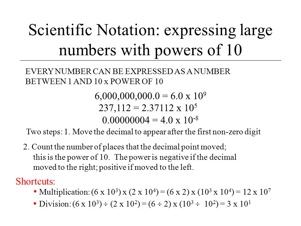 Scientific Notation: expressing large numbers with powers of 10