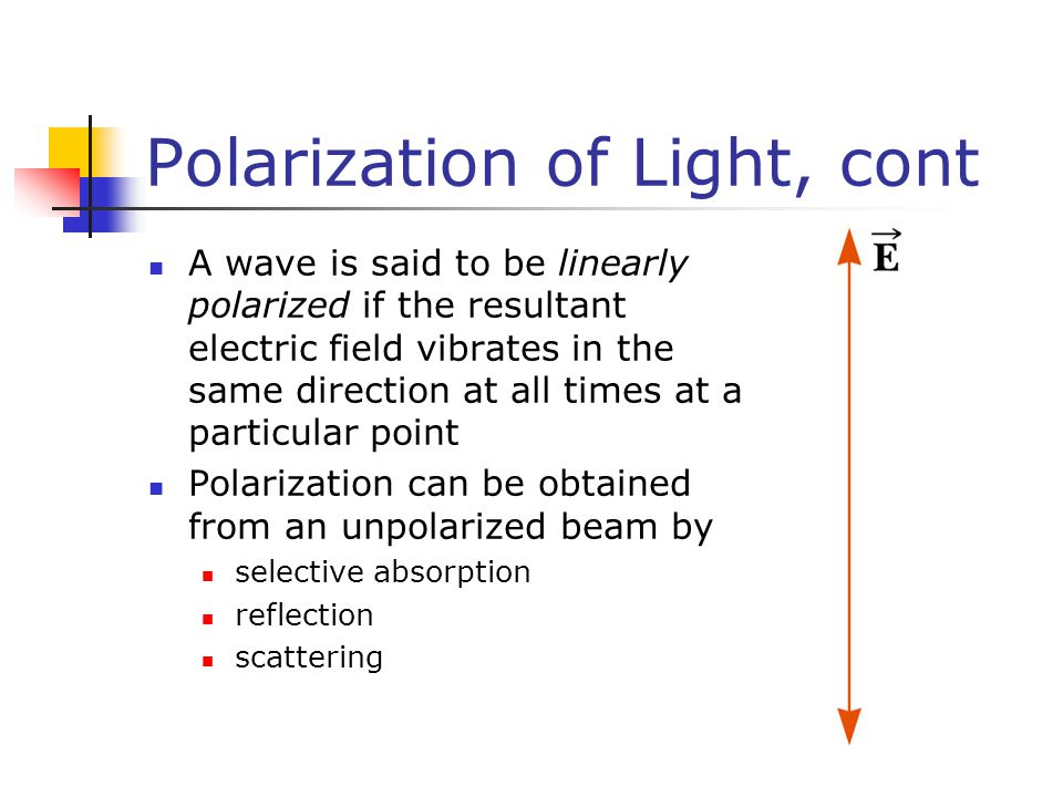 Polarization of Light, cont