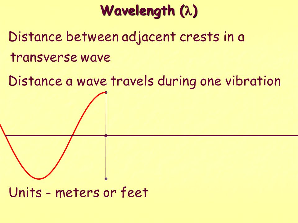 Wavelength (l) Distance between adjacent crests in a transverse wave. Distance a wave travels during one vibration.