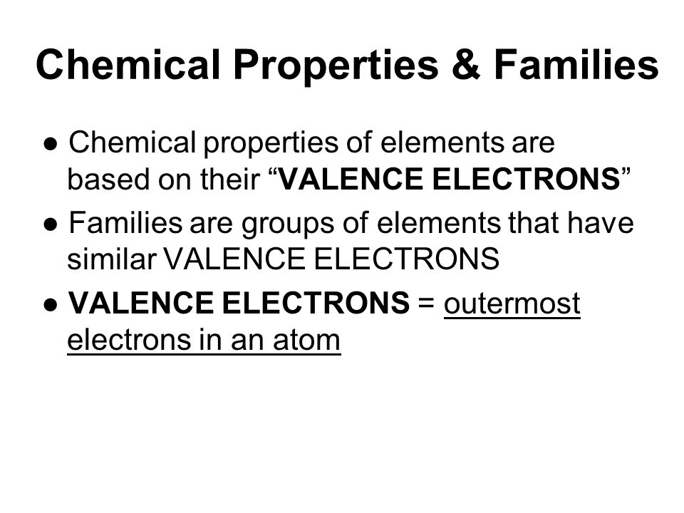 Chemical Properties & Families