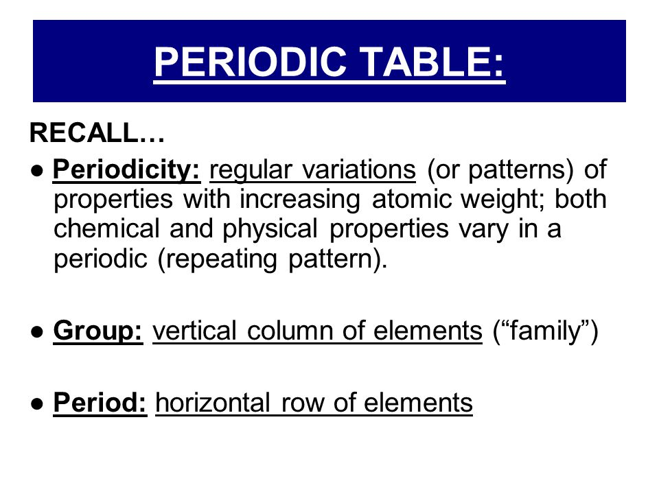 PERIODIC TABLE: RECALL…
