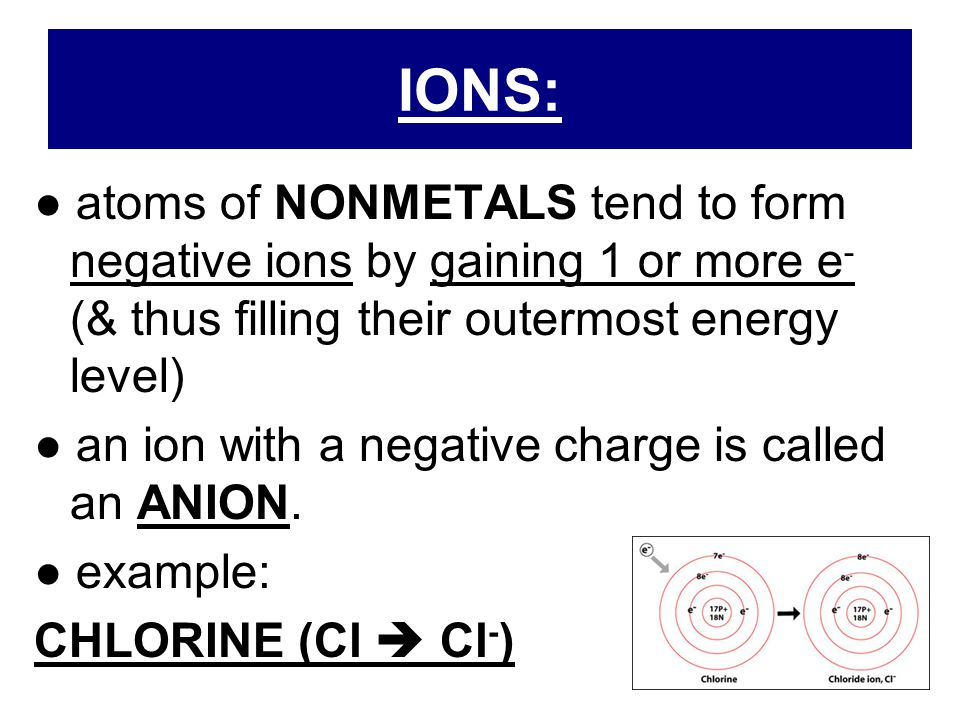 IONS: ● atoms of NONMETALS tend to form negative ions by gaining 1 or more e- (& thus filling their outermost energy level)