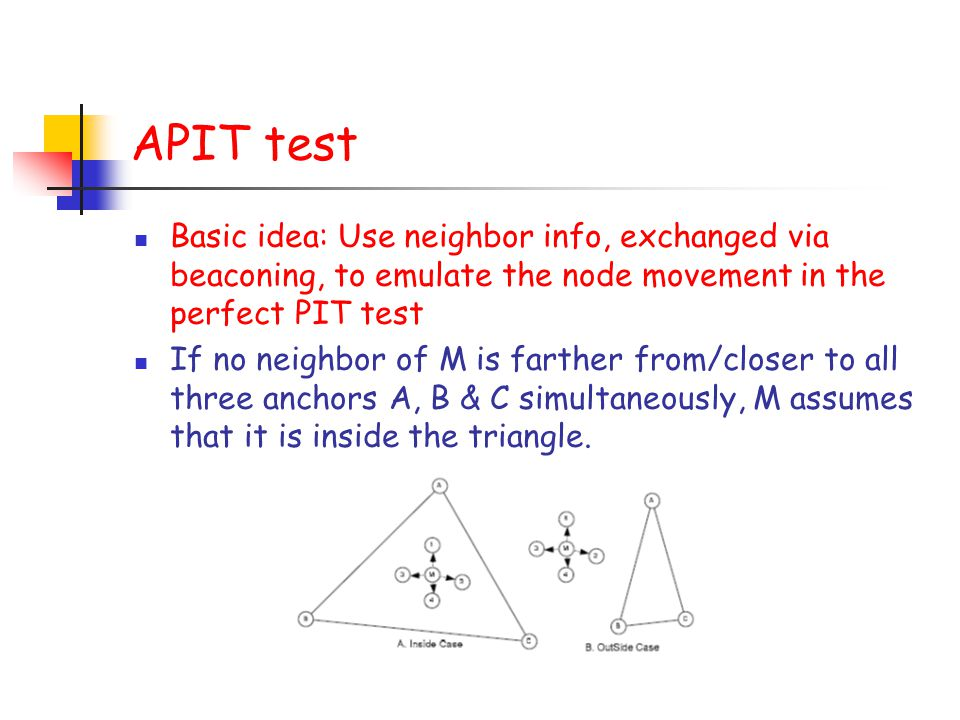APIT test Basic idea: Use neighbor info, exchanged via beaconing, to emulate the node movement in the perfect PIT test.