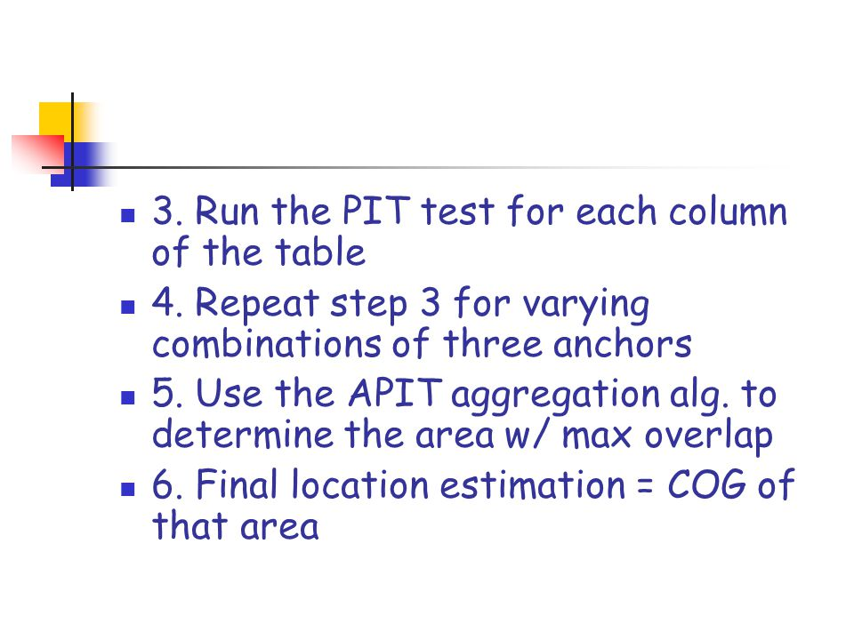 3. Run the PIT test for each column of the table