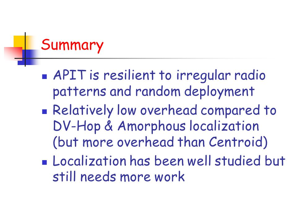 Summary APIT is resilient to irregular radio patterns and random deployment.