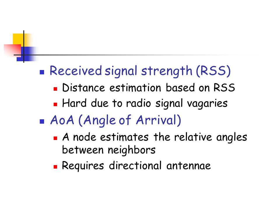 Received signal strength (RSS)