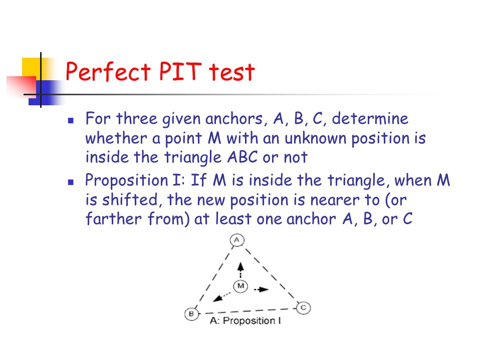 Perfect PIT test For three given anchors, A, B, C, determine whether a point M with an unknown position is inside the triangle ABC or not.
