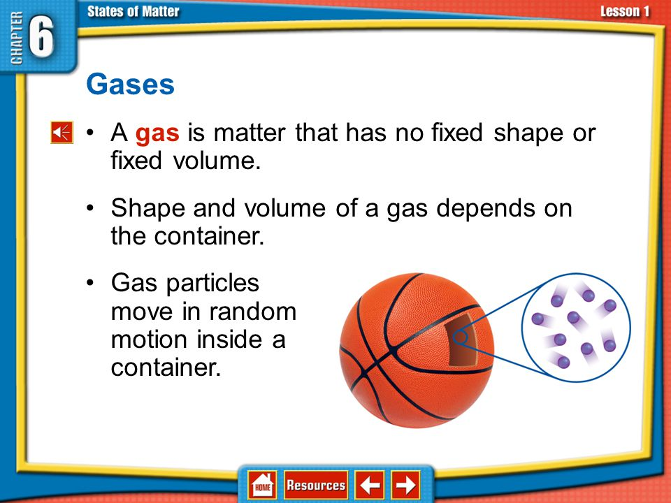 Gases A gas is matter that has no fixed shape or fixed volume.