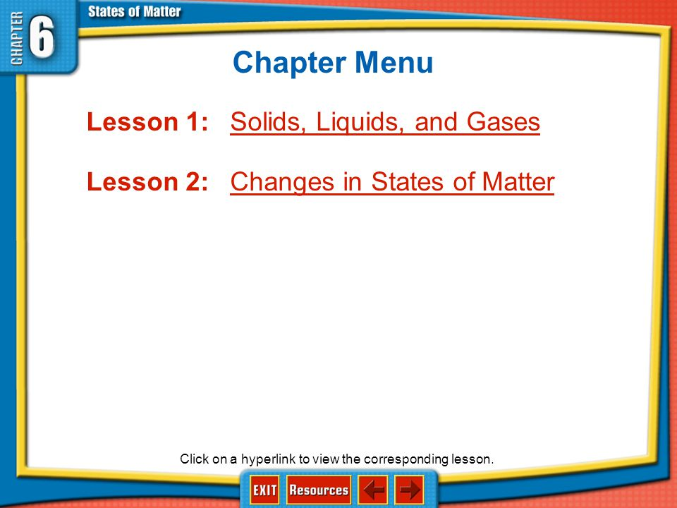Chapter Menu Lesson 1: Solids, Liquids, and Gases
