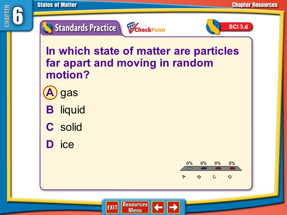 SCI 3.d A. B. C. D. In which state of matter are particles far apart and moving in random motion