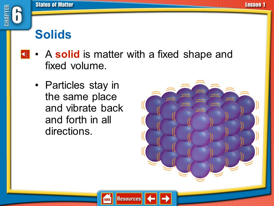 Solids A solid is matter with a fixed shape and fixed volume.