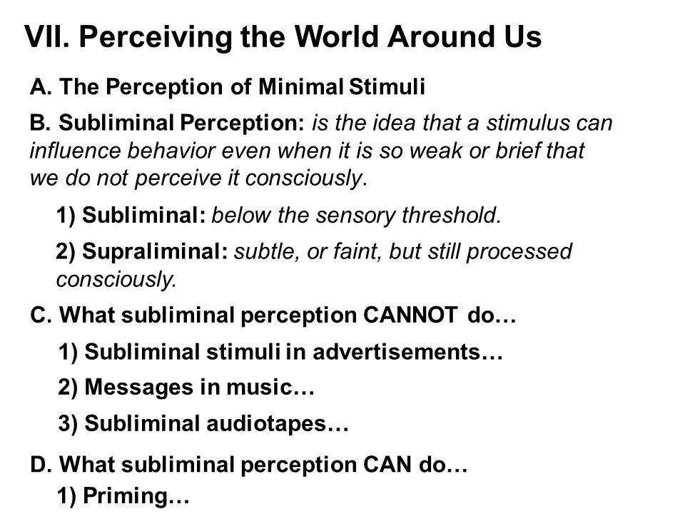 VII. Perceiving the World Around Us