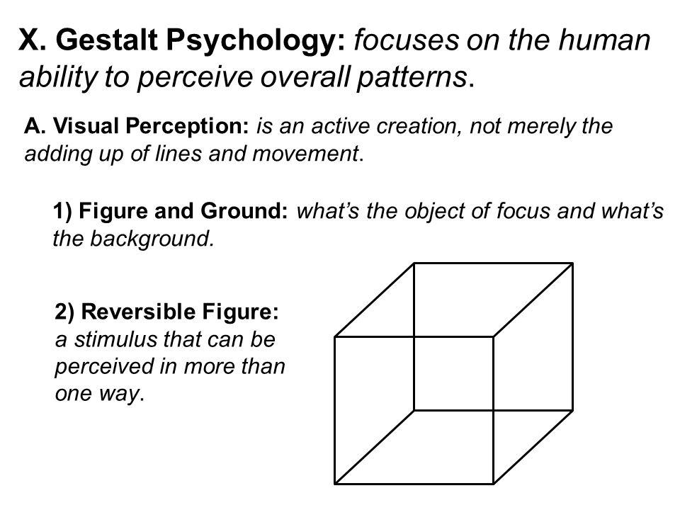 X. Gestalt Psychology: focuses on the human