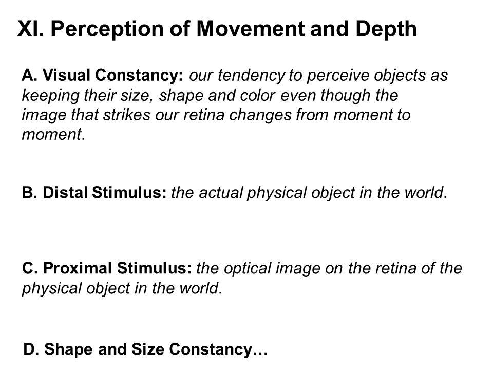 XI. Perception of Movement and Depth
