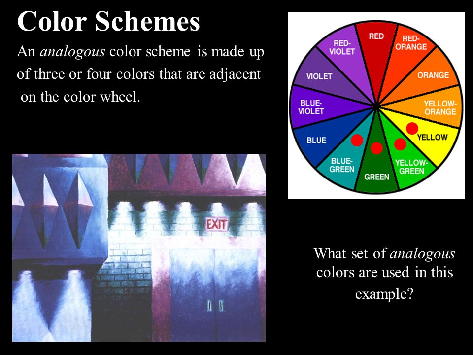 What set of analogous colors are used in this example