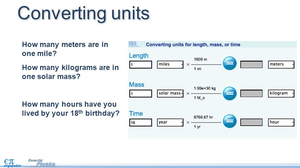Converting units How many meters are in one mile