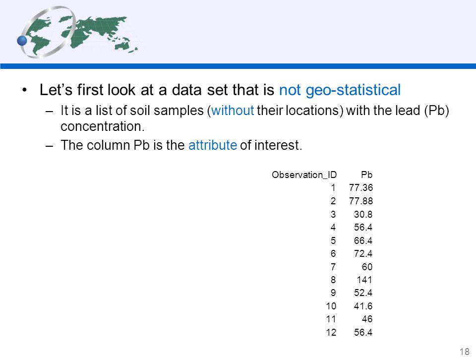 Let's first look at a data set that is not geo-statistical