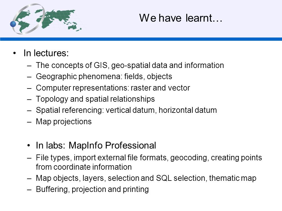 We have learnt… In lectures: In labs: MapInfo Professional