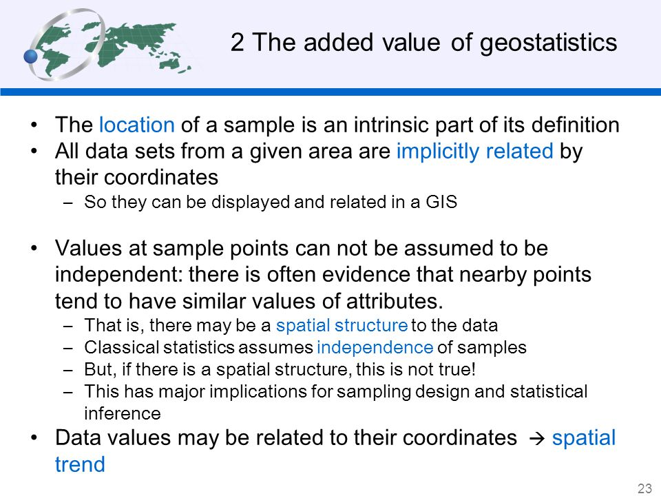 2 The added value of geostatistics