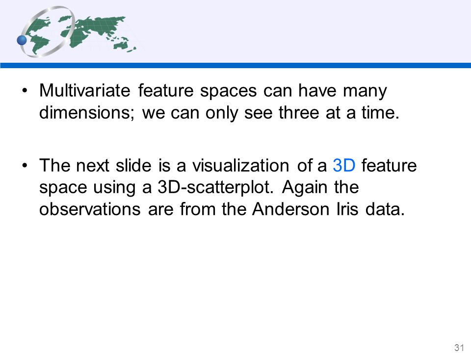 Multivariate feature spaces can have many dimensions; we can only see three at a time.