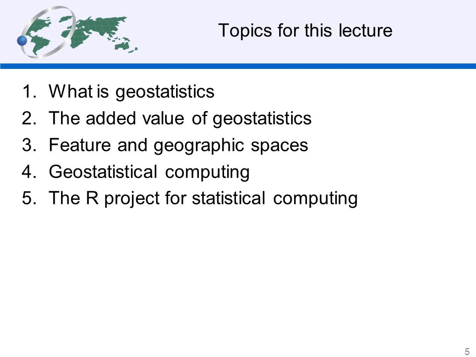 Topics for this lecture