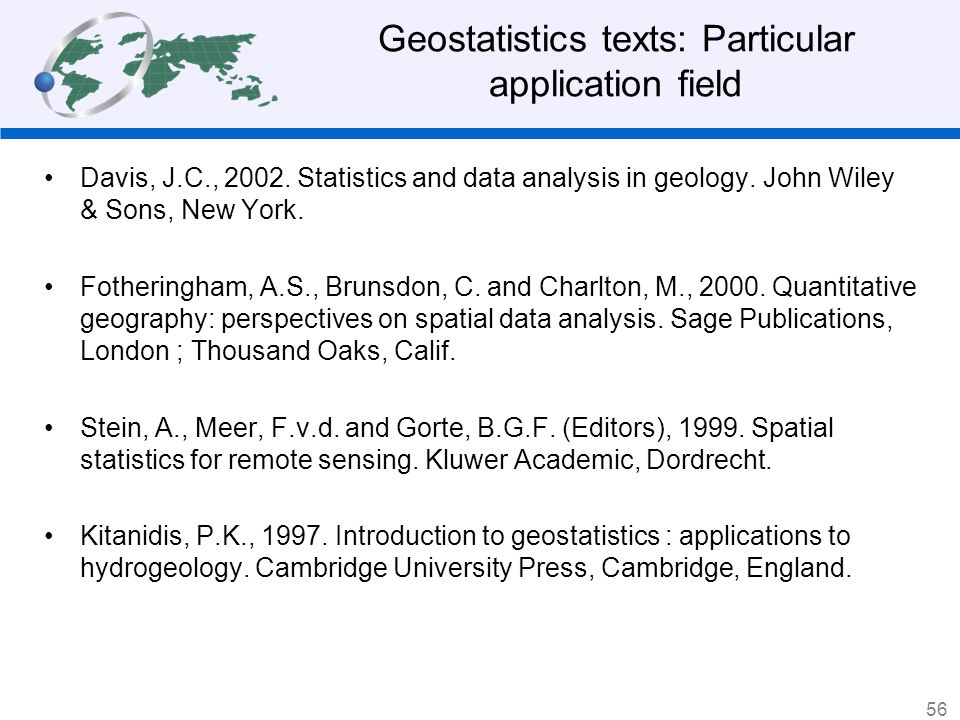 Geostatistics texts: Particular application field