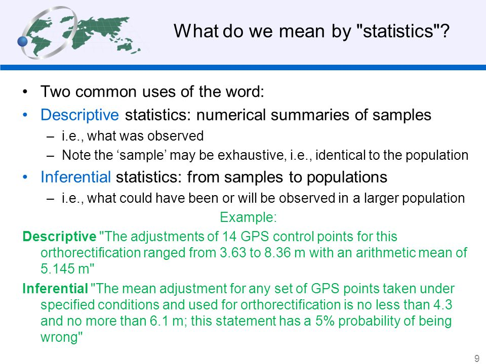 What do we mean by statistics