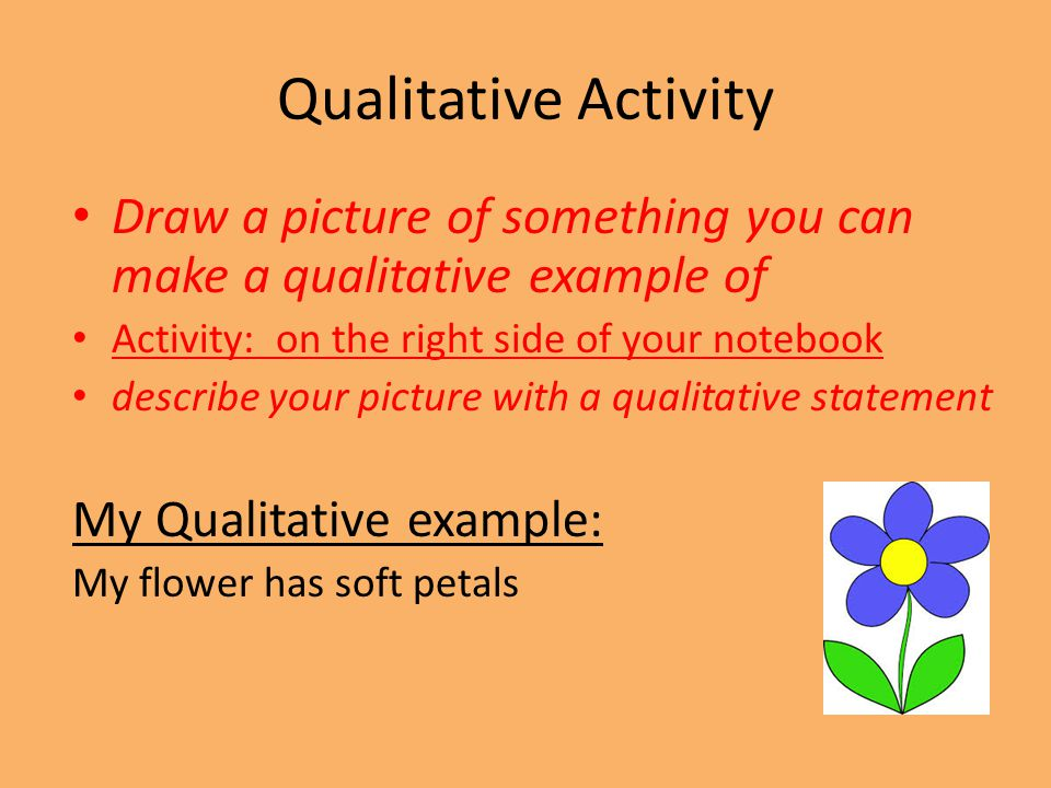 Qualitative Activity Draw a picture of something you can make a qualitative example of. Activity: on the right side of your notebook.