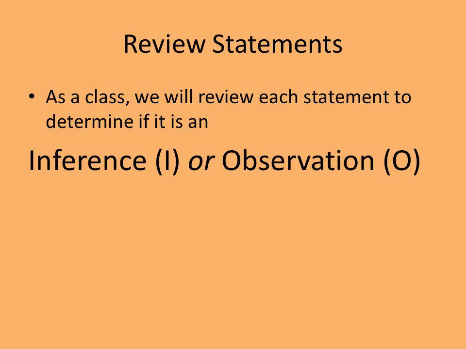 Inference (I) or Observation (O)