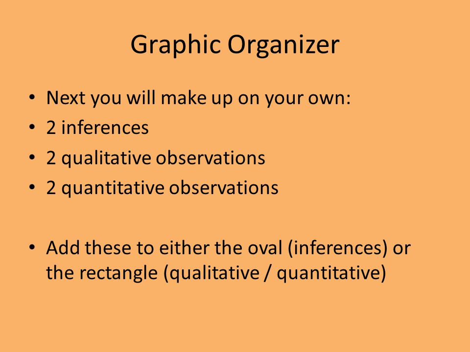 Graphic Organizer Next you will make up on your own: 2 inferences