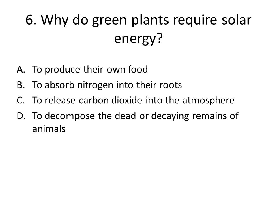 6. Why do green plants require solar energy
