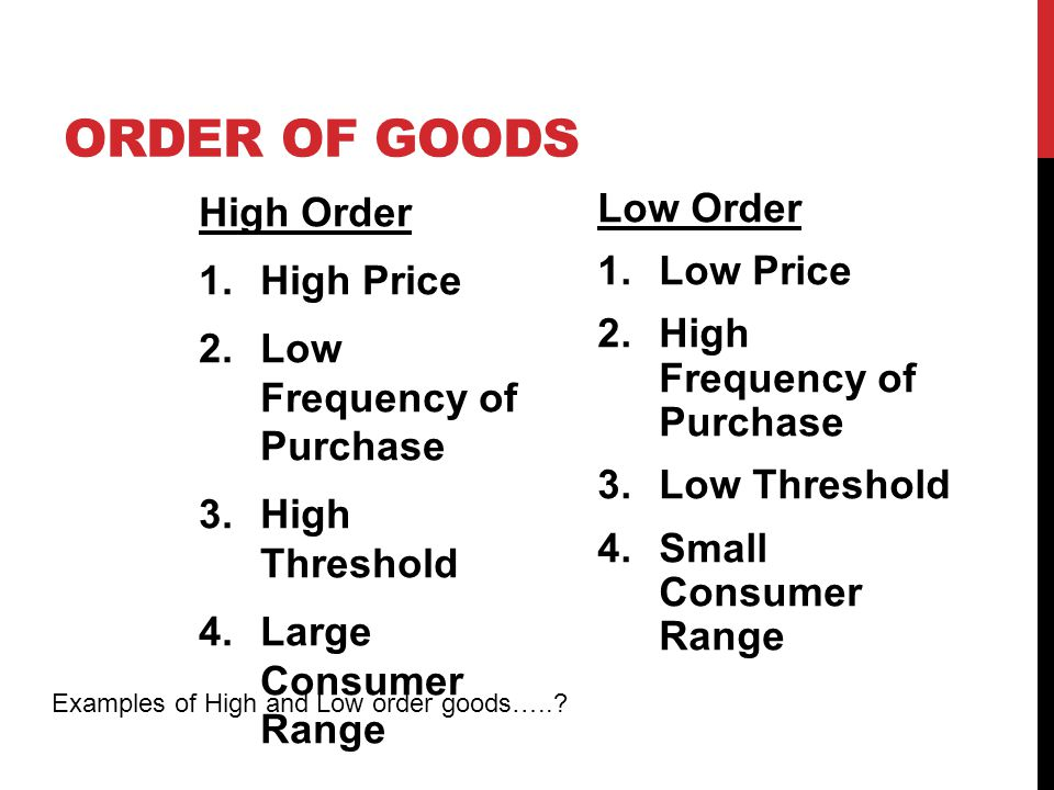 Order of Goods High Order High Price Low Frequency of Purchase