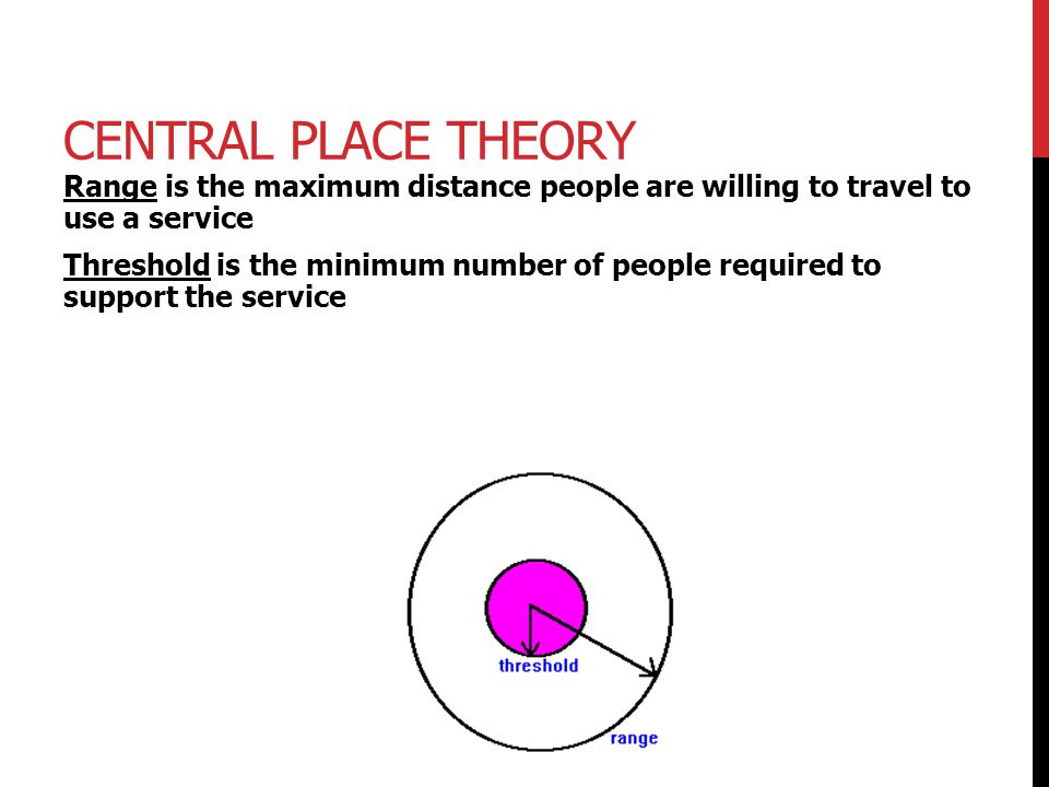 Central Place Theory Range is the maximum distance people are willing to travel to use a service.