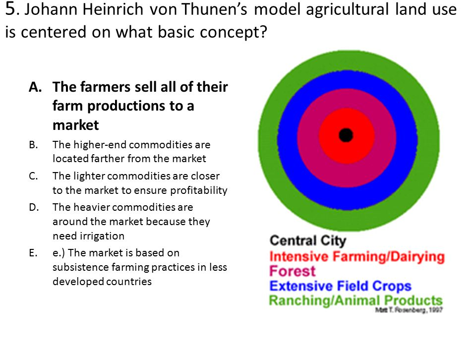 5. Johann Heinrich von Thunen's model agricultural land use is centered on what basic concept