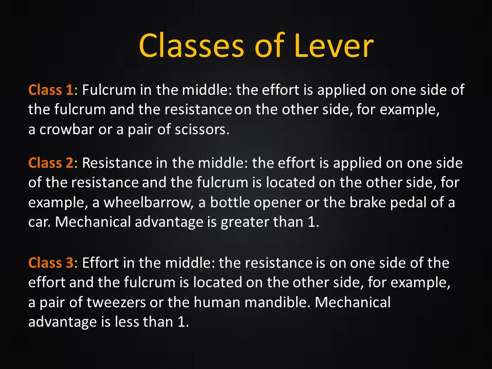 Clases of Lever Classes of Lever