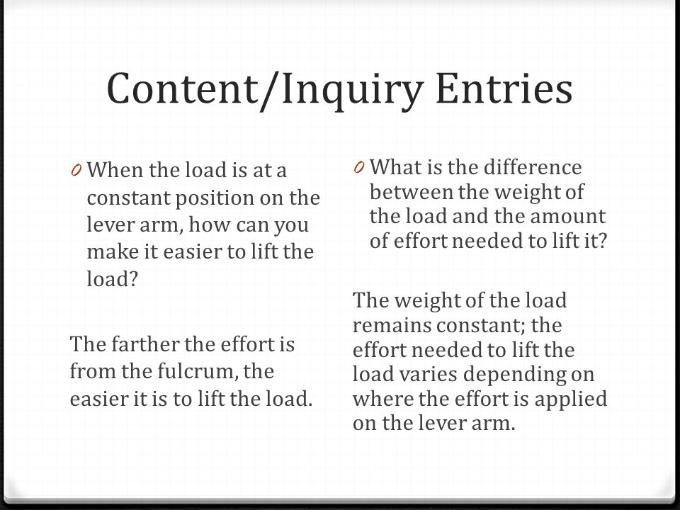 Content/Inquiry Entries