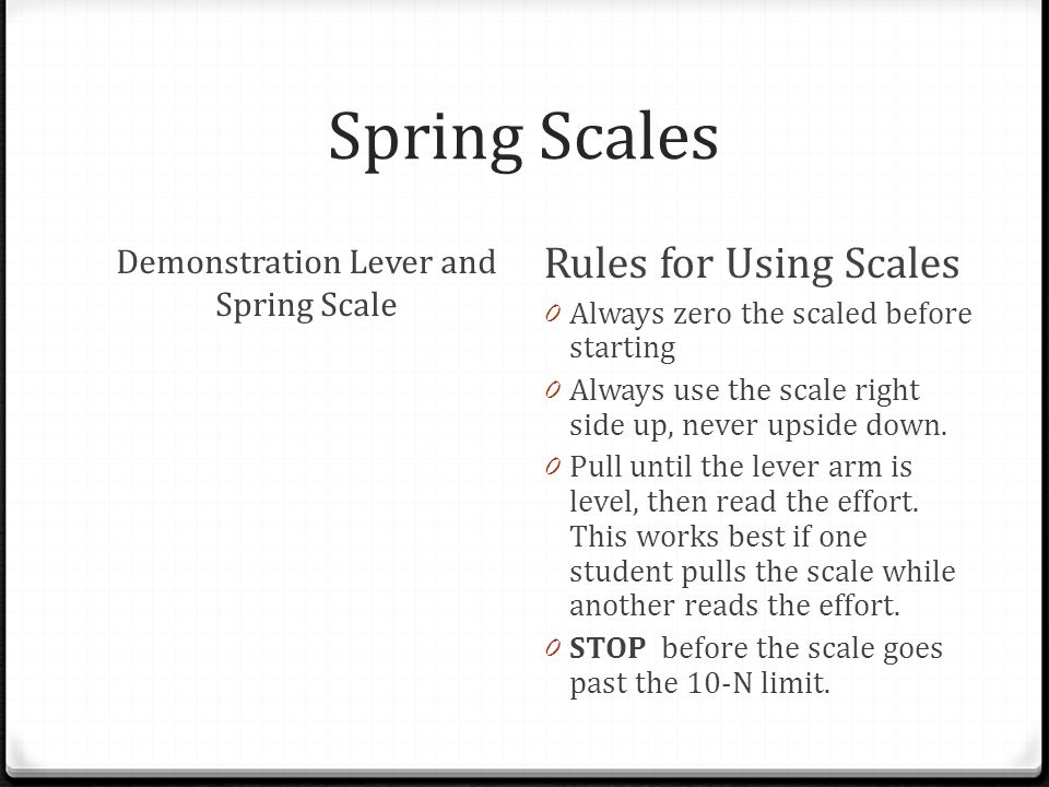 Demonstration Lever and Spring Scale