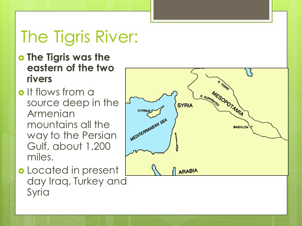The Tigris River: The Tigris was the eastern of the two rivers