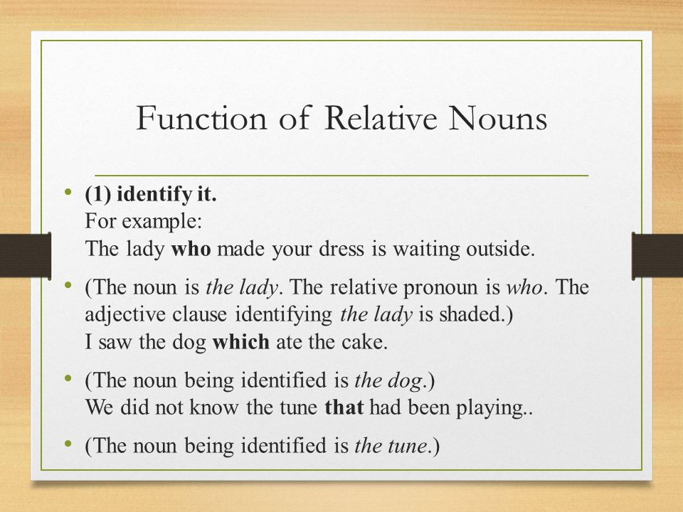 Function of Relative Nouns