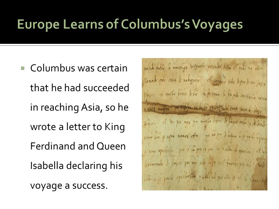 Europe Learns of Columbus's Voyages