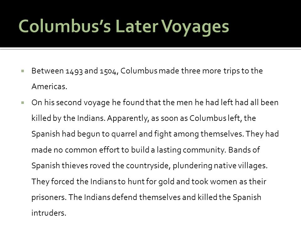 Columbus's Later Voyages