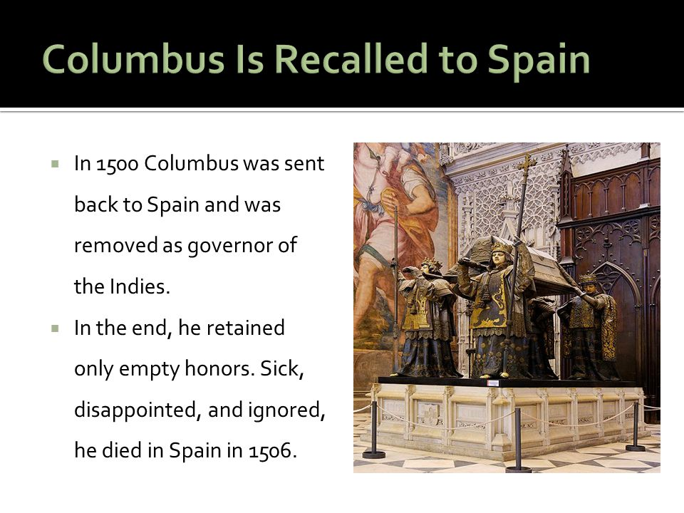Columbus Is Recalled to Spain