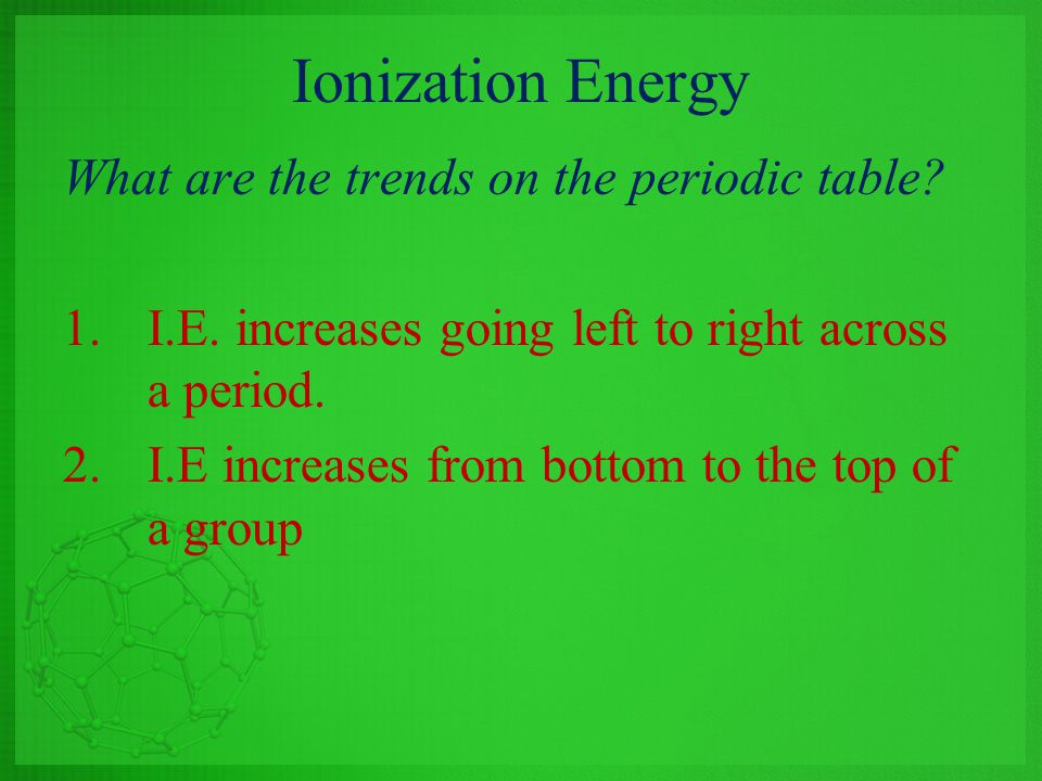 Ionization Energy What are the trends on the periodic table
