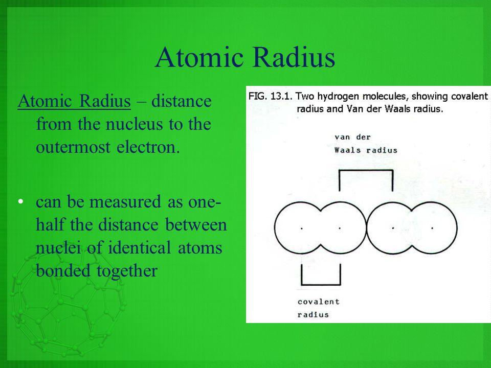 Atomic Radius Atomic Radius – distance from the nucleus to the outermost electron.